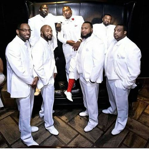 And you thought I didn't wear clothes no more Meetthebrowns2015 Rockhard Pourup Wedding bearded beardgang baldheadgang rp vegas allwhite blacklove