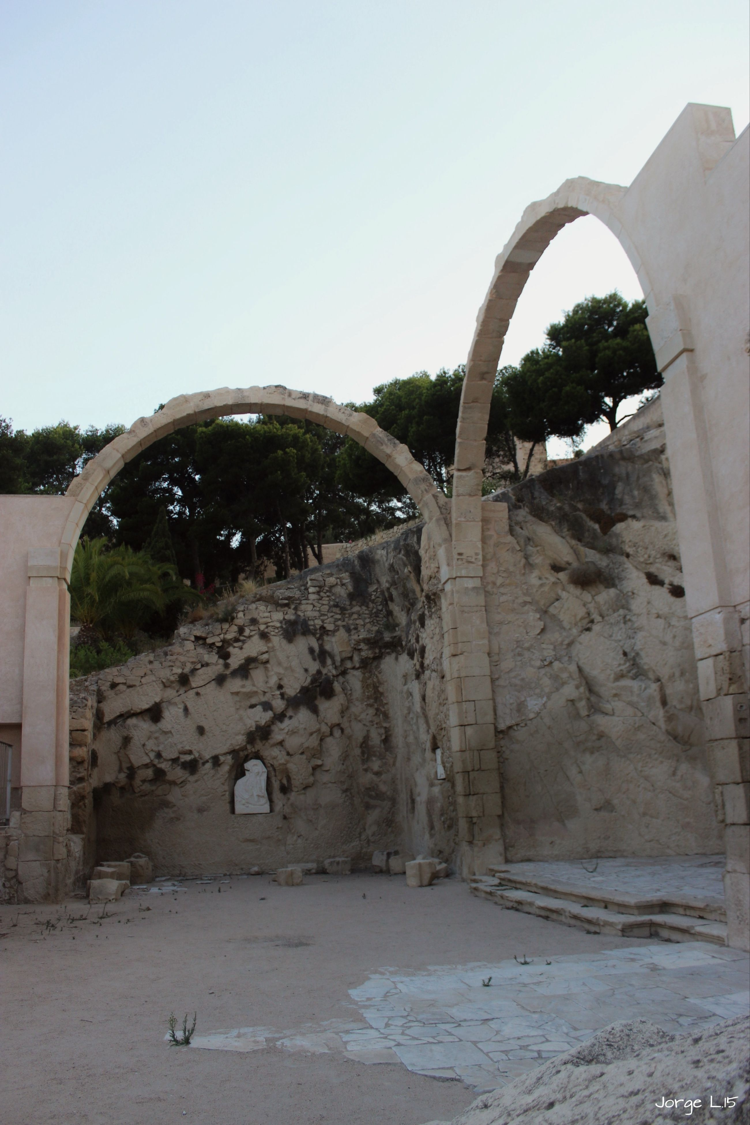 architecture, built structure, arch, building exterior, clear sky, tree, wall - building feature, old, stone wall, house, abandoned, history, day, archway, wall, copy space, building, sunlight, outdoors, window