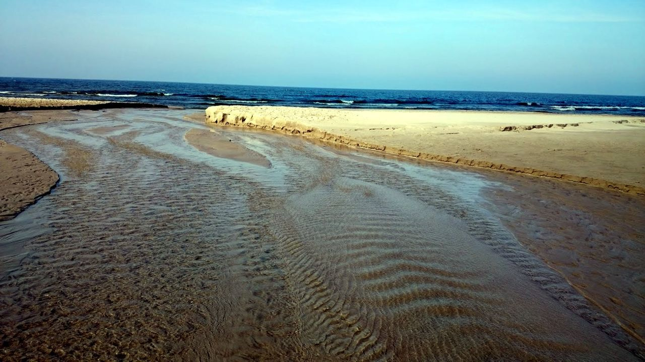 sea, beach, horizon over water, sand, water, shore, scenics, beauty in nature, nature, tranquil scene, tranquility, outdoors, sky, day, tire track, no people, clear sky