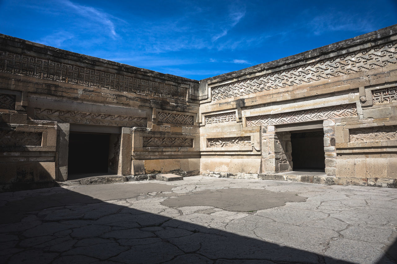 Ancient Civilization Ancient Ruins Architecture Blue Building Building Exterior Built Structure Cloud Cloud - Sky Day Façade Historic History Mitla No People Oaxaca Old Outdoors Sky Sunlight Sunny The Past Travel Travel Destinations Travel Photography