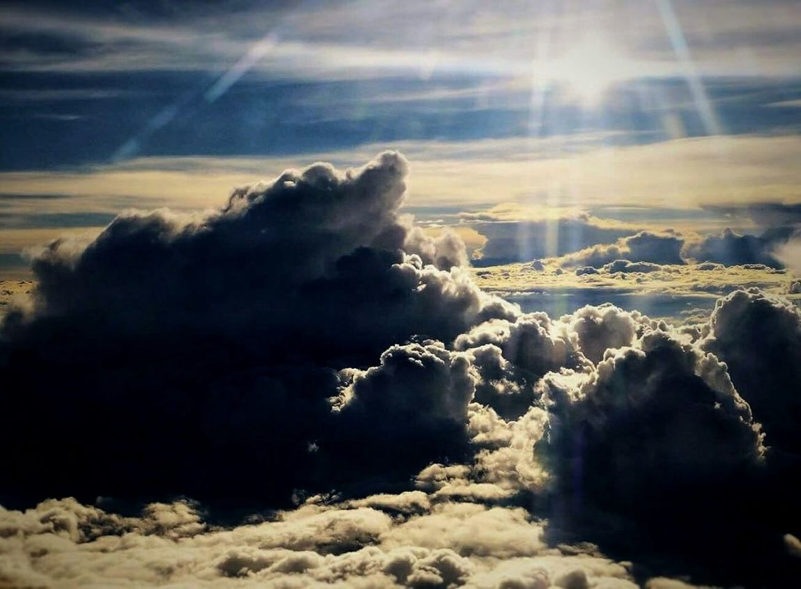 Nature Sunlight No People Sky Outdoors Through The Window Clouds And Sky Clouds Over The Clouds Fuchur Flight View Cloud - Sky