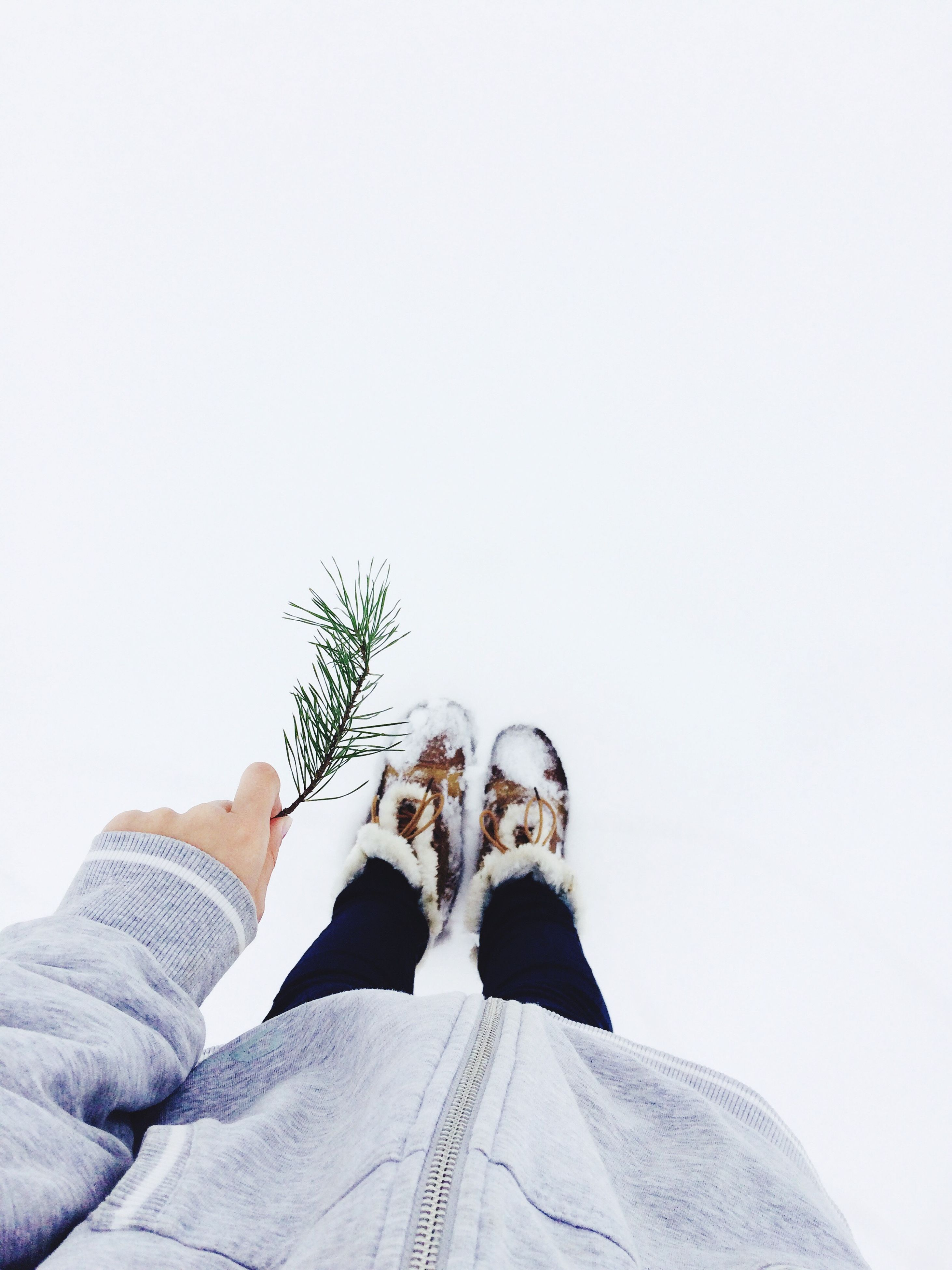 copy space, real people, personal perspective, low section, lifestyles, human body part, human leg, leisure activity, clear sky, shoe, one person, men, outdoors, day, nature, close-up, white background, human hand