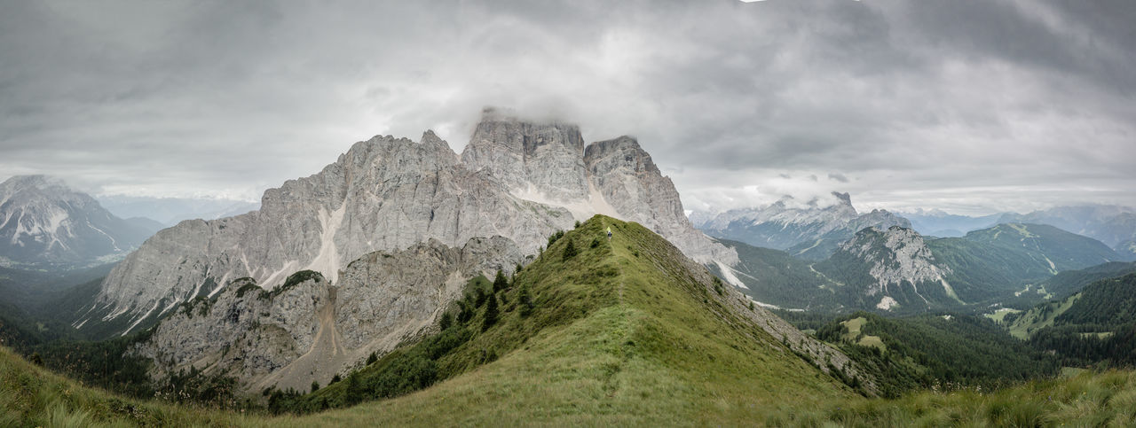 Dolomiti, the Pelmo Muont near Rifugio Fiume Clody Day Dolomiti Bellunesi Dolomiti Italy Dolomitiunesco Montain  Montains    Overcast Panoramic Photography Panoramic View Pelmo Rock Formation Rocky Mountains The Week On EyeEm Val Zoldana Weather