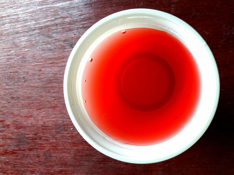 Red Drink Refreshment Freshness Food And Drink Close-up Cup Plastic Recyclable Circle Round Directly Above Top View Still Life Object Bubbles Water
