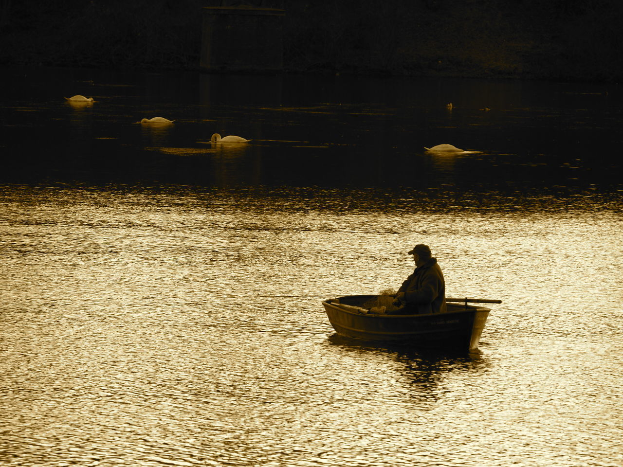 water, real people, waterfront, one person, men, nautical vessel, night, silhouette, river, outdoors, lifestyles, transportation, leisure activity, nature, standing, people