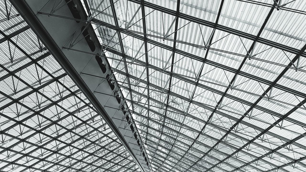 ceiling, architecture, indoors, modern, architectural feature, pattern, low angle view, built structure, full frame, no people, backgrounds, day, futuristic