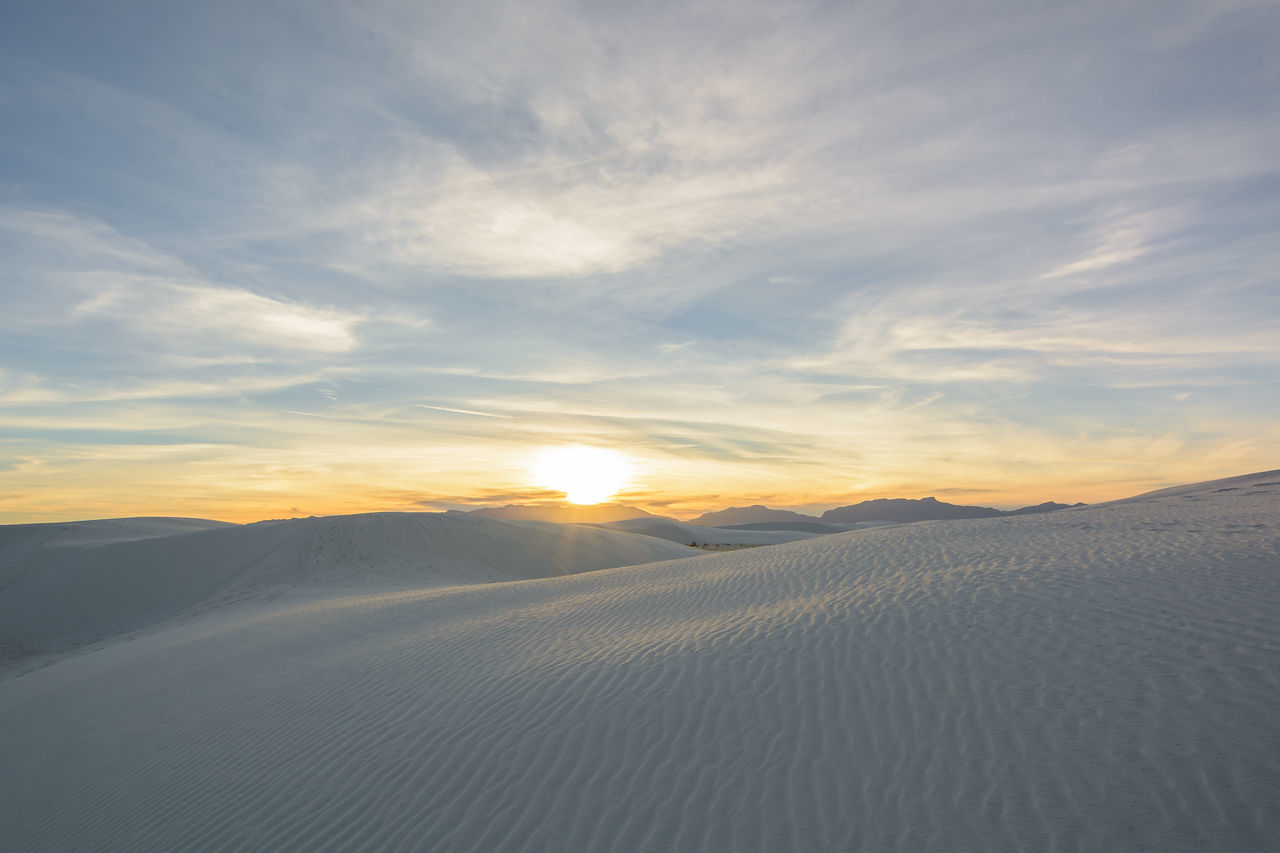 Sunset over White Sands National Monument, New Mexico, United States Beauty In Nature Cloud - Sky Day Landscape Nature New Mexico No People Outdoors Sand Dune Scenics Sky Sun Sunlight Sunset Travel Travel Destinations White Sands National Monument