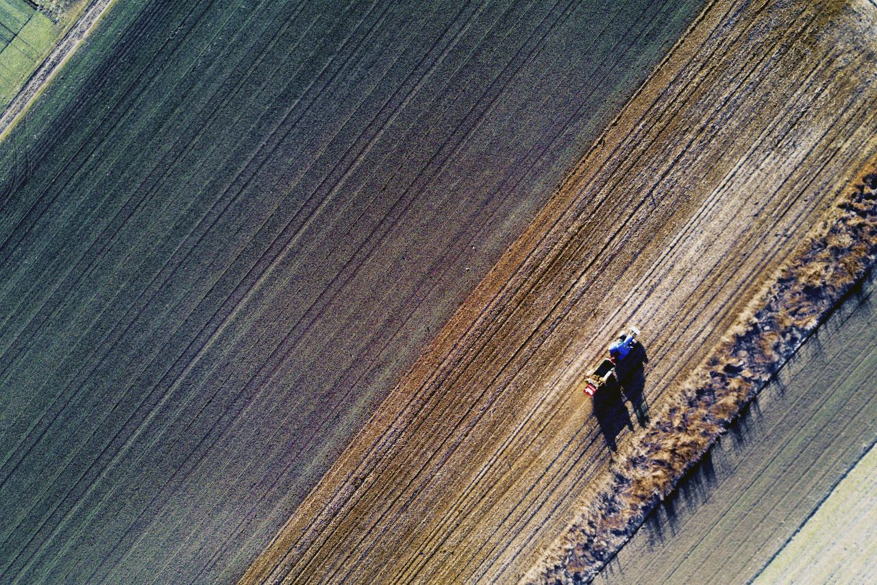 Agricultural Machinery Agriculture Bird View Dronephotography Field Fieldscape Occupation Outdoors Rural Scene Tractor Flying High