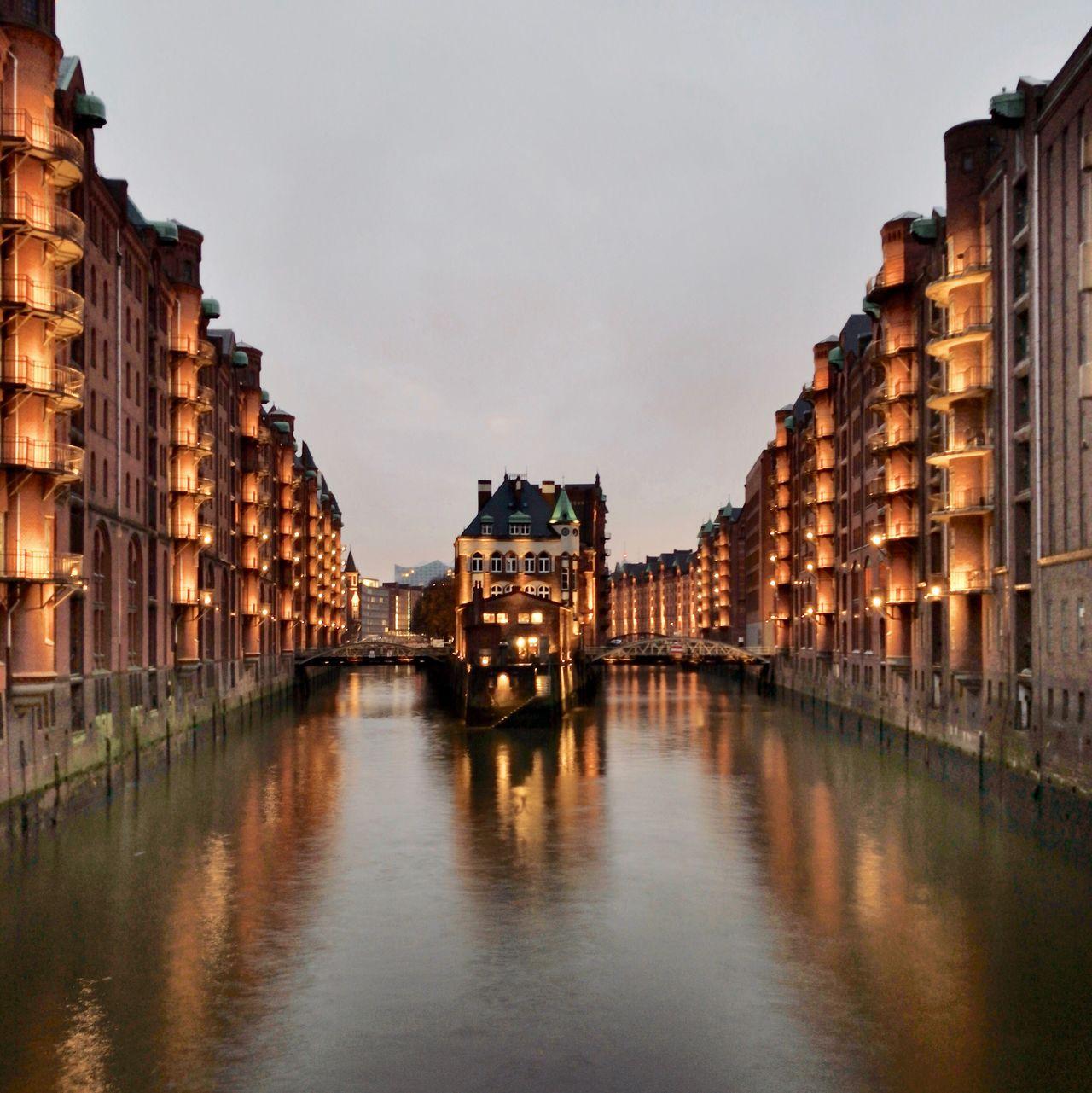 Hamburg Warehouse Speicherstadt Fleet UNESCO World Heritage Site Canal Architecture Building Exterior Built Structure Water Reflection City Waterfront Sky Illuminated Outdoors No People Day (null) Germany Elbphilharmonie Fleetschlösschen