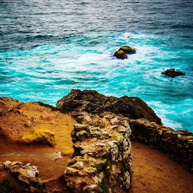 Waves And Rocks EyeEm Gallery Seaside_collection Waves Crashing Rock And Sea Rocks And Water Check This Out Turquoise Water Orange Rock Rock Formation Nature Nature_collection Simplicity Color Explosion Fine Art Photography Colour Of Life