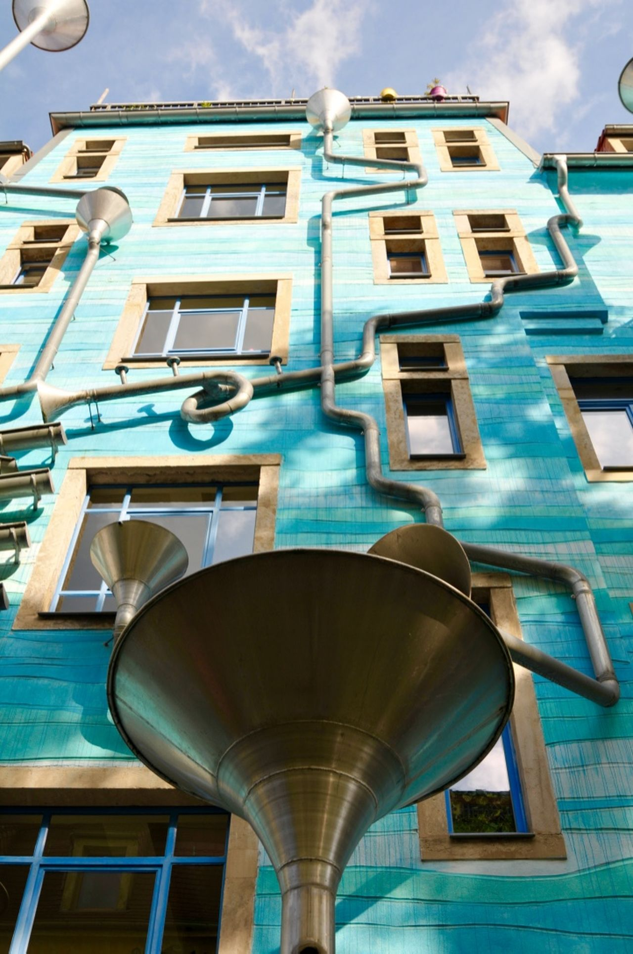 Architecture City Life Countryard Of Elements Kunsthofpassage Low Angle View Modern Musical Pipes Rain Singing In The Rain Traveling Water