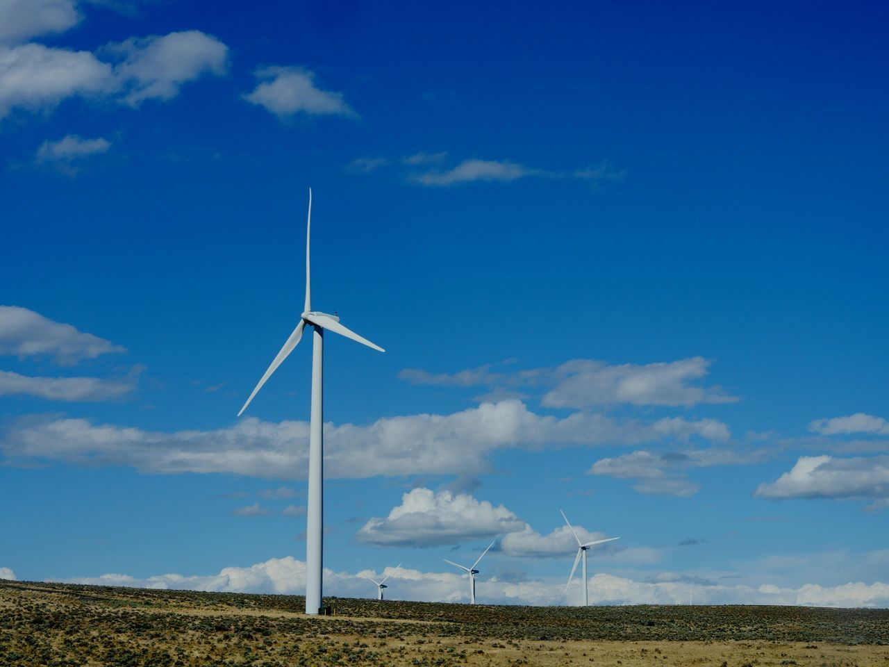 Low Angle View Of Windmills On Field Against Cloudy Blue Sky During Sunny Day