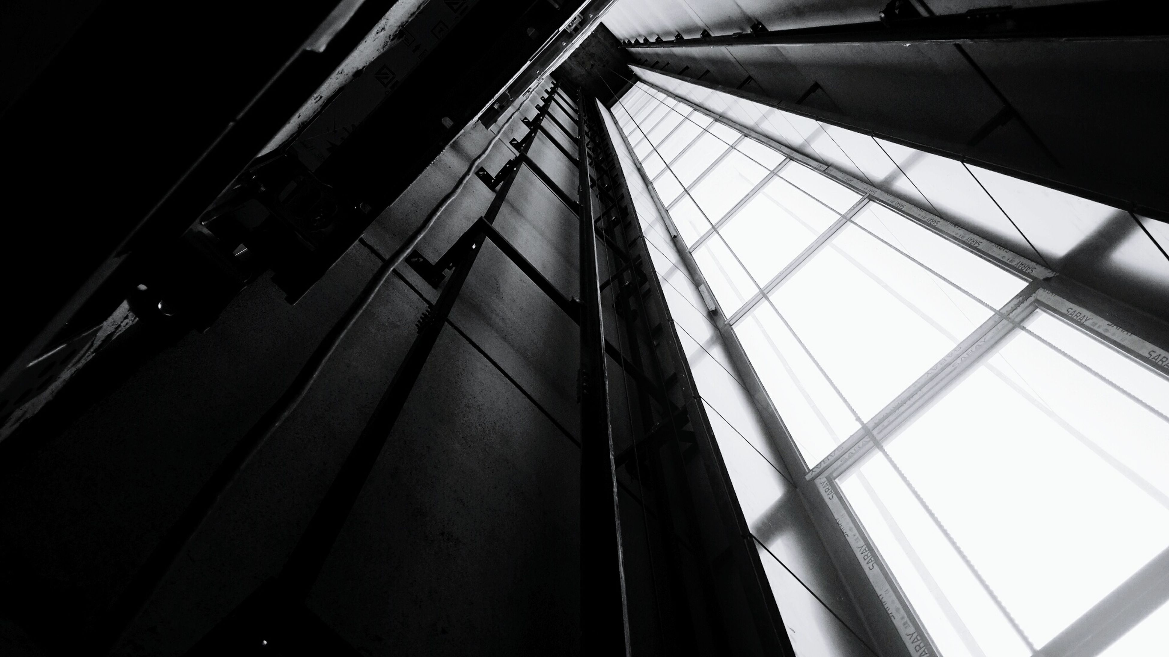 low angle view, architecture, modern, day, outdoors, tall, sky, office building, no people, long