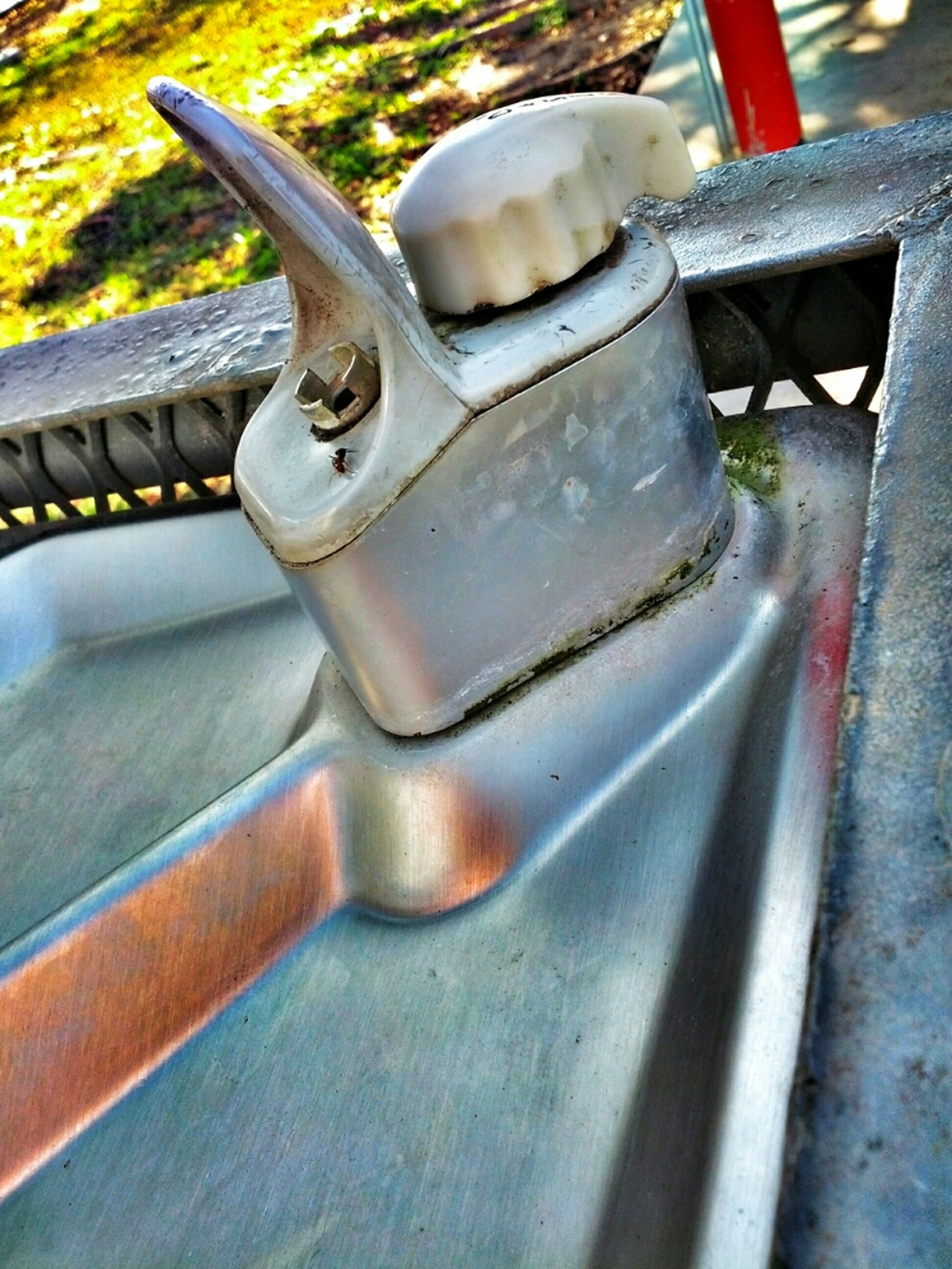 metal, close-up, metallic, focus on foreground, high angle view, railing, part of, day, no people, outdoors, protection, transportation, sunlight, cropped, mode of transport, safety, rusty, wood - material, chain, land vehicle