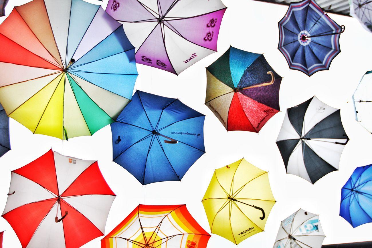 Beautifully Organized Umbrellas Sky Colours Zürich Swizerland City Rainy Weather