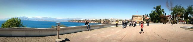 A new look to an photo from yesterday. A 180 degree view of the harbor of the old city of Kaleiçi. Antalta. Turkey. Blue City Travel Destinations Horizontal Clear Sky Outdoors Sky Bridge - Man Made Structure Cityscape Malephotographerofthemonth Sony Sony Xperia Eyeemphotography Streetphotography Photography EyeEm Best Shots EyeEm Gallery Horizontal Eye4photography  Blue Sky Blue Sky And Sea Blue Color 180° Turkey Harbor