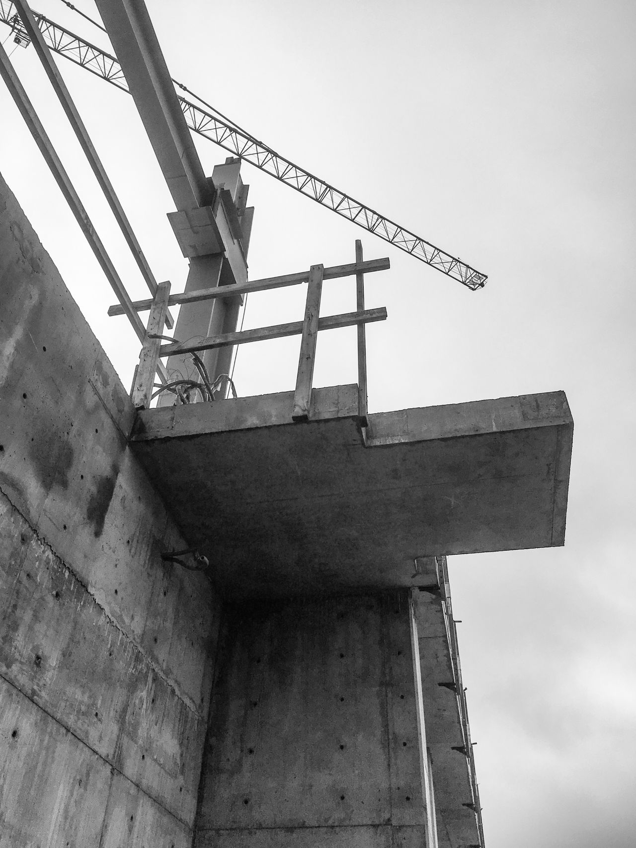 Low Angle View Architecture Concrete Construction Zone Construction Crane Black And White