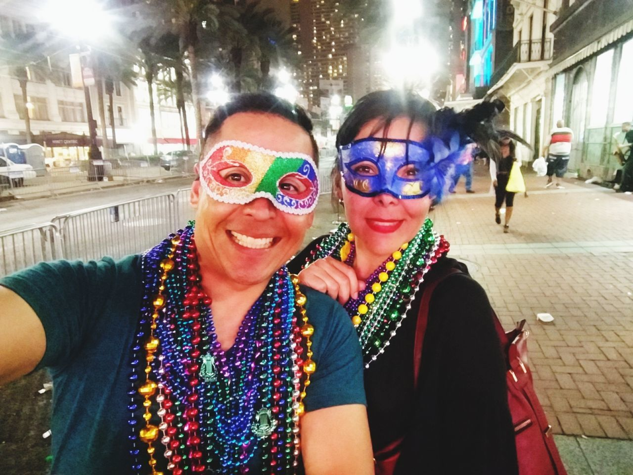 Mardi Gras Mardigras2017 Neworleans Two People Togetherness Looking At Camera Portrait Sunglasses Happiness Adults Only Smiling Multi Colored People Cheerful Adult Bonding Outdoors Women Night Young Adult