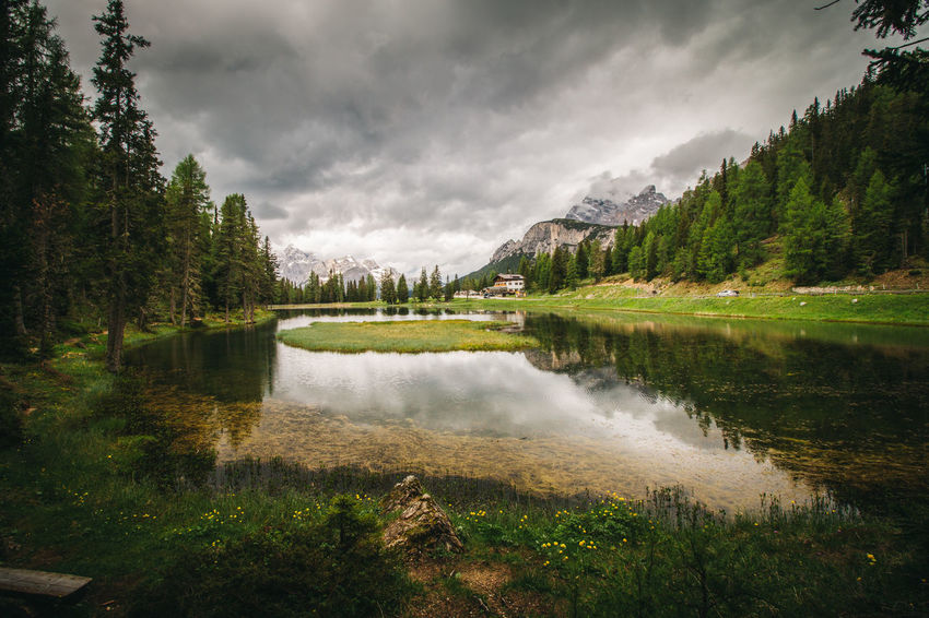 Hiking in the Italian Dolomites Adventure Can Canon EOS 70D Cloud - Sky Dolomites Dolomiti DSLR Extreme Weather Hiking Italian Food Lake Landscape Mountain Natural Parkland Nature No People Outdoors Peaks Reflection Reflection Lake Sky Tree Water Wilderness Wonderlust The Great Outdoors - 2017 EyeEm Awards Neighborhood Map