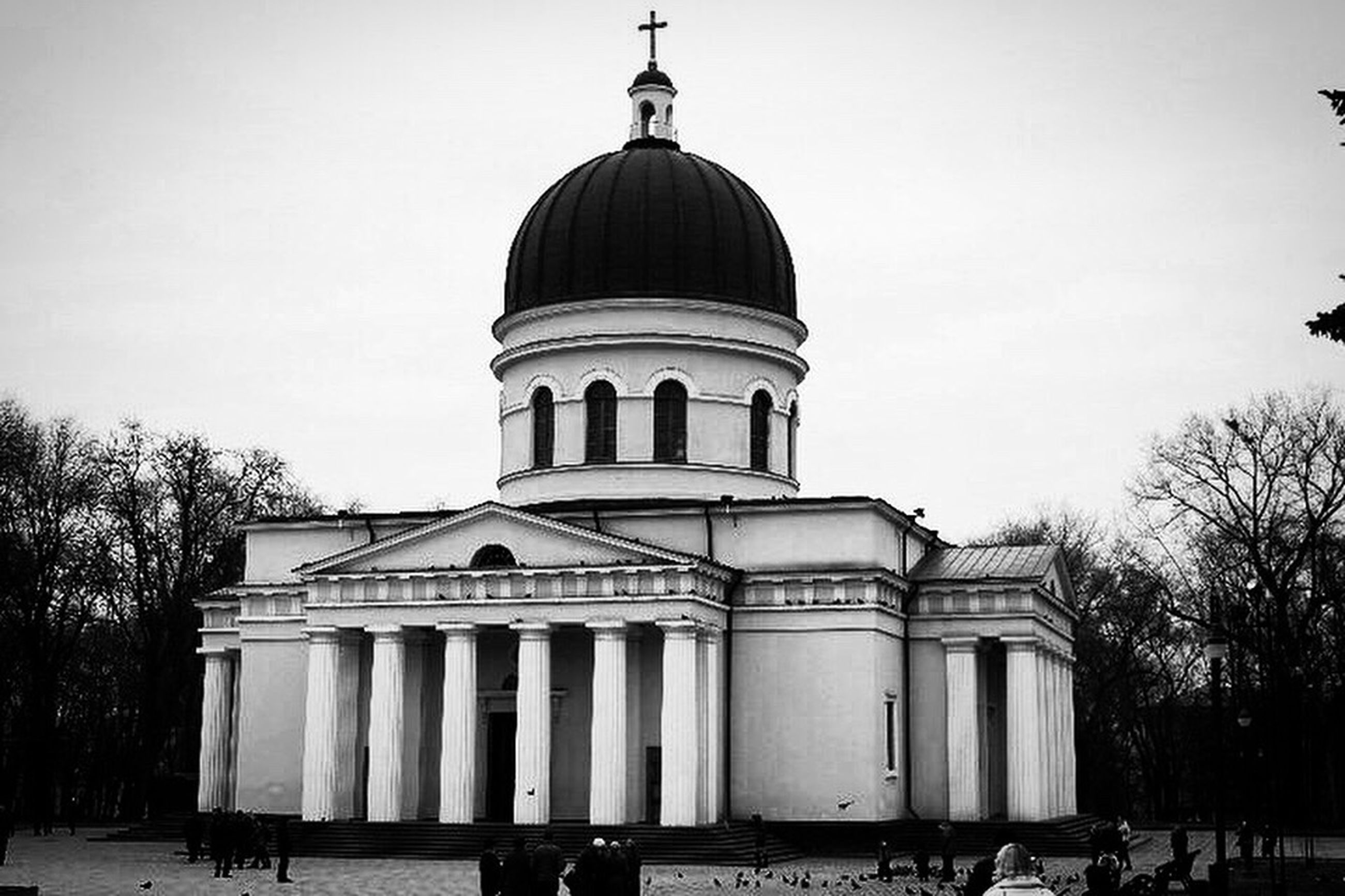 architecture, building exterior, built structure, clear sky, dome, place of worship, religion, facade, church, spirituality, low angle view, travel destinations, famous place, history, arch, tourism, tree, sky