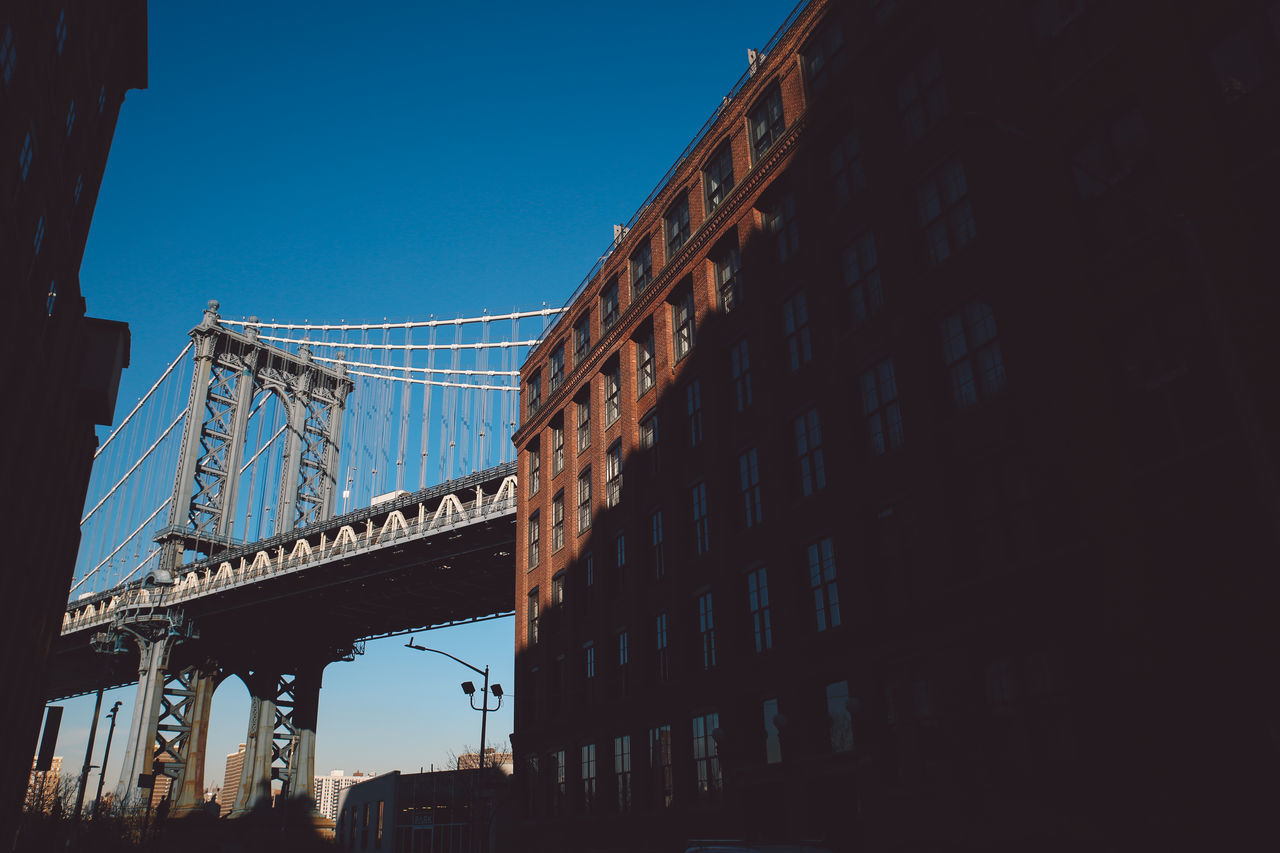 Architecture Building Exterior Built Structure City Clear Sky Day DUMBO, Brooklyn Low Angle View Manhattan Bridge New York New York City No People NYC Outdoors Sky Sunny Sunset Winter The City Light