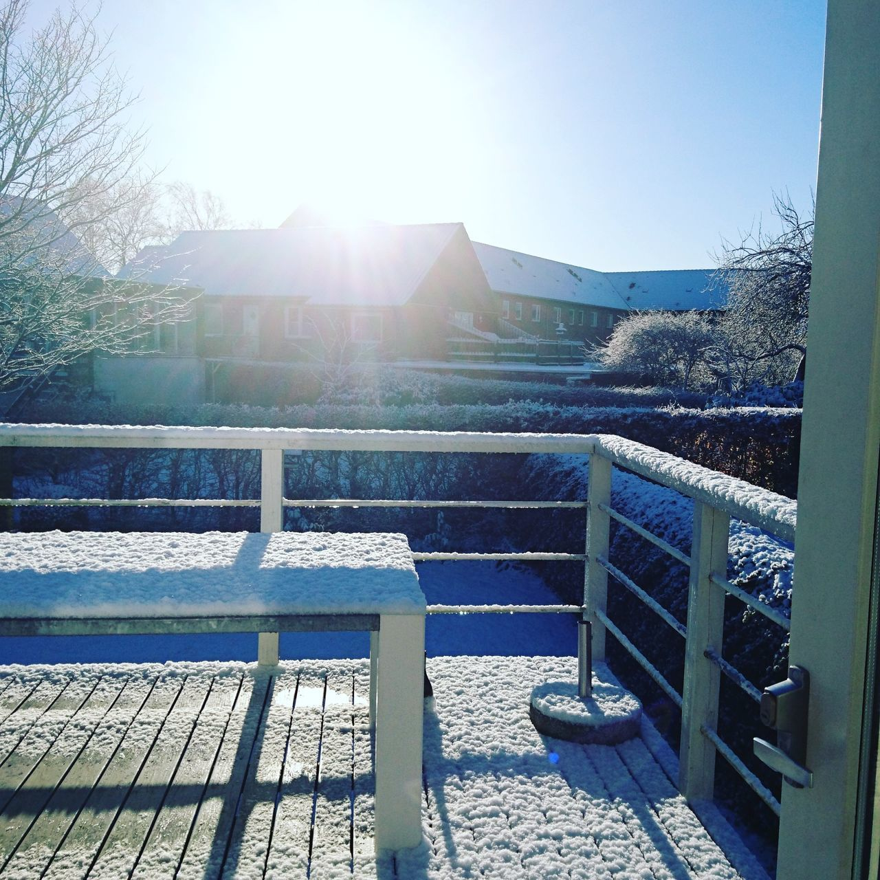 Snow in the morning sun Sunlight Winter Cold Temperature Outdoors Snow Beauty In Nature Sky Railing Swimming Pool Water Nature Staircase Day No People Frosty