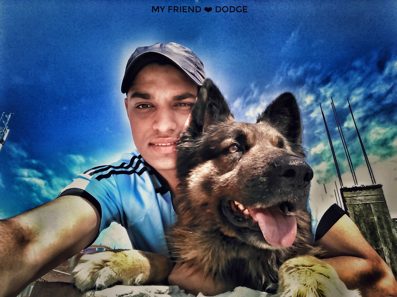 one animal, real people, looking at camera, animal themes, leisure activity, portrait, sky, pets, dog, one person, front view, young adult, mammal, lifestyles, casual clothing, domestic animals, outdoors, bonding, day, happiness, sitting, smiling, close-up, young women, nature, people