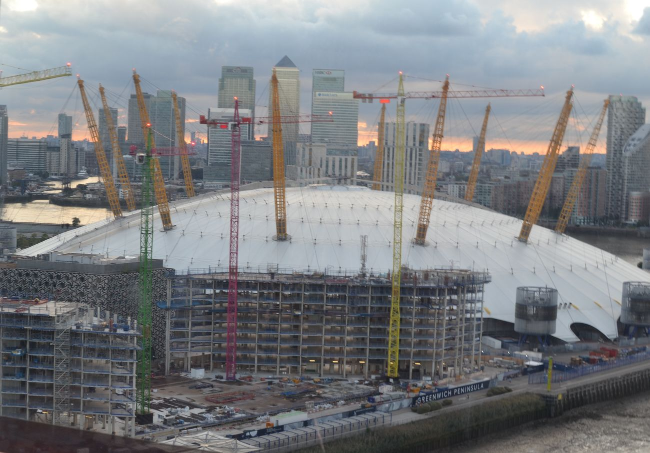 O2 Arena Architecture Built Structure View From Above View From Emirates Airline Canary Wharf In The Distant Background