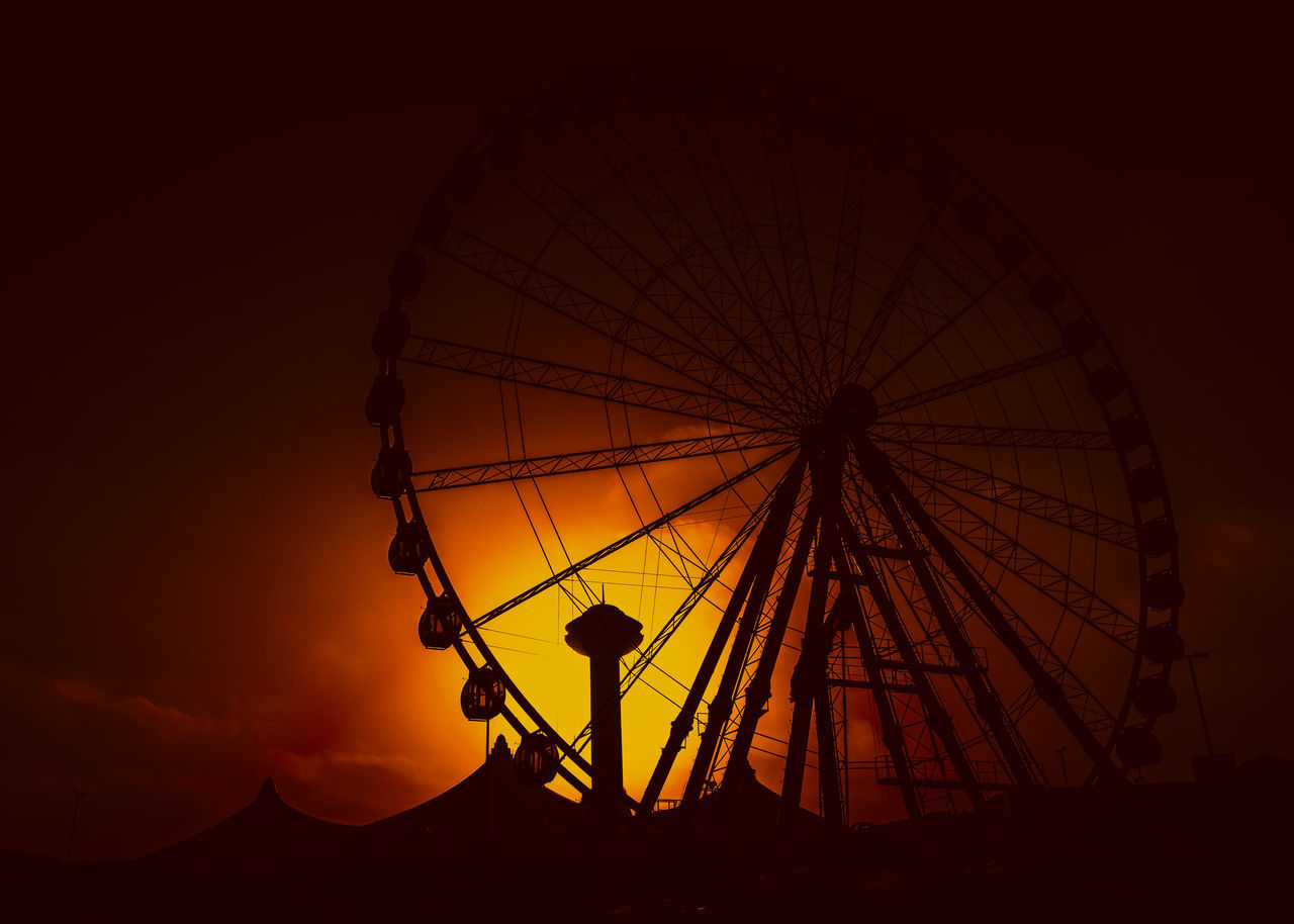sunset, silhouette, ferris wheel, amusement park, sky, dusk, arts culture and entertainment, no people, outdoors, nature, clear sky, night