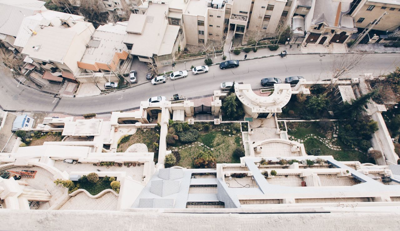 A Bird's Eye View tehran iran Architecture building exterior built structure City car street mode of transport Transportation City Life high angle view Road City Street day View Open Edit Looking Down looking down from above garden