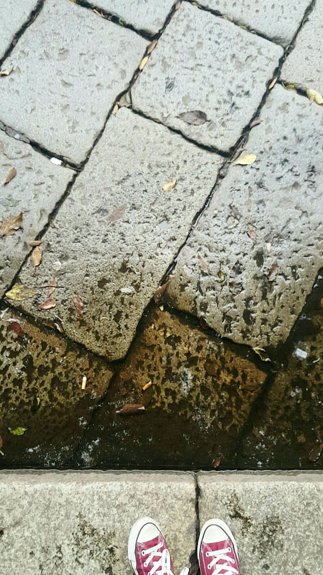 Rainy Shoe Standing Outdoors High Angle View Rany Day Citylife Street Pollution Italy Milan Noedit Nopeople Shoes Pavement Paving Stone Fall Winter Landscape InstaPlace