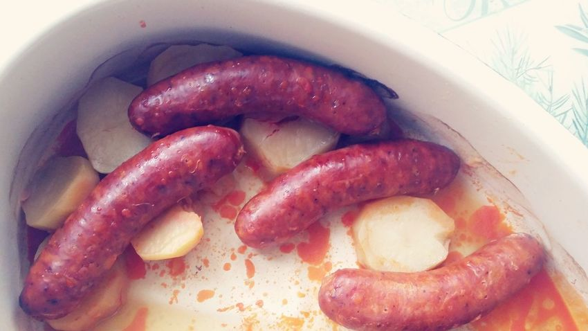 Unhealthy Eating Unhealthy Food Food And Drink Close-up Food Home Freshness Day Indoors  No People Eating Home Filled Sausages! Potato Cooking