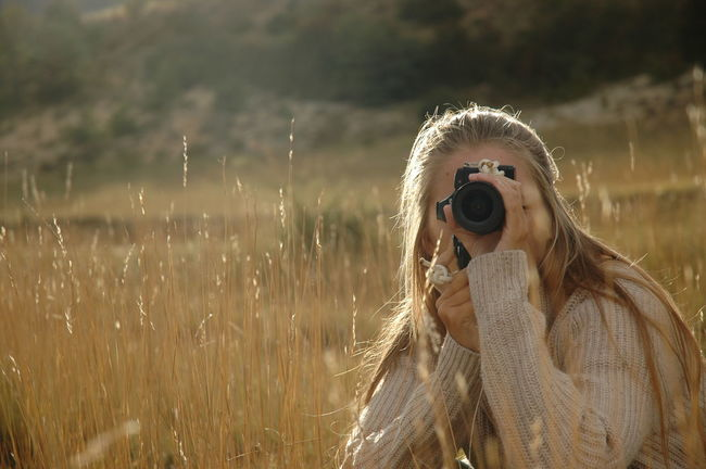 Blonde Girl Day Field Focus On Foreground Light Nature Outdoors Photograph Tranquility Wheat Field
