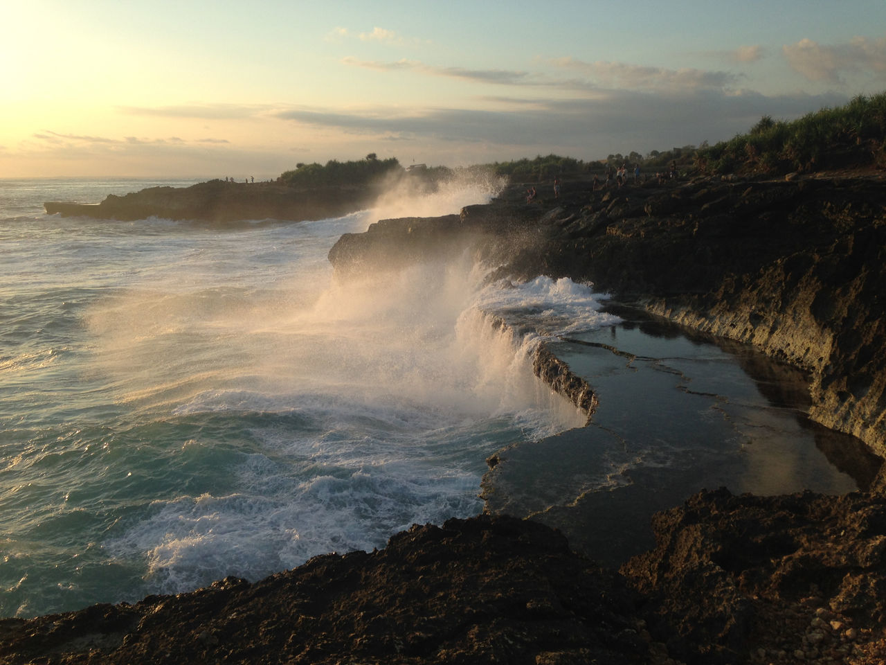 Crashing waves, ocean mist and waterfalls on the cliffs at Devil's Tears at sunset, Nusa Lembongan, Bali, Indonesia Bali Bali, Indonesia Beach Beach Photography Beautiful Beauty In Nature Breathtaking Cliffs Cliffside Devils Tears Evening Light Mist Motion Motion Capture Nature Photographer Nusalembongan Ocean Ocean Photography Power In Nature Splashing Splashing Waves Stunning Sunset Waterfalls Waves
