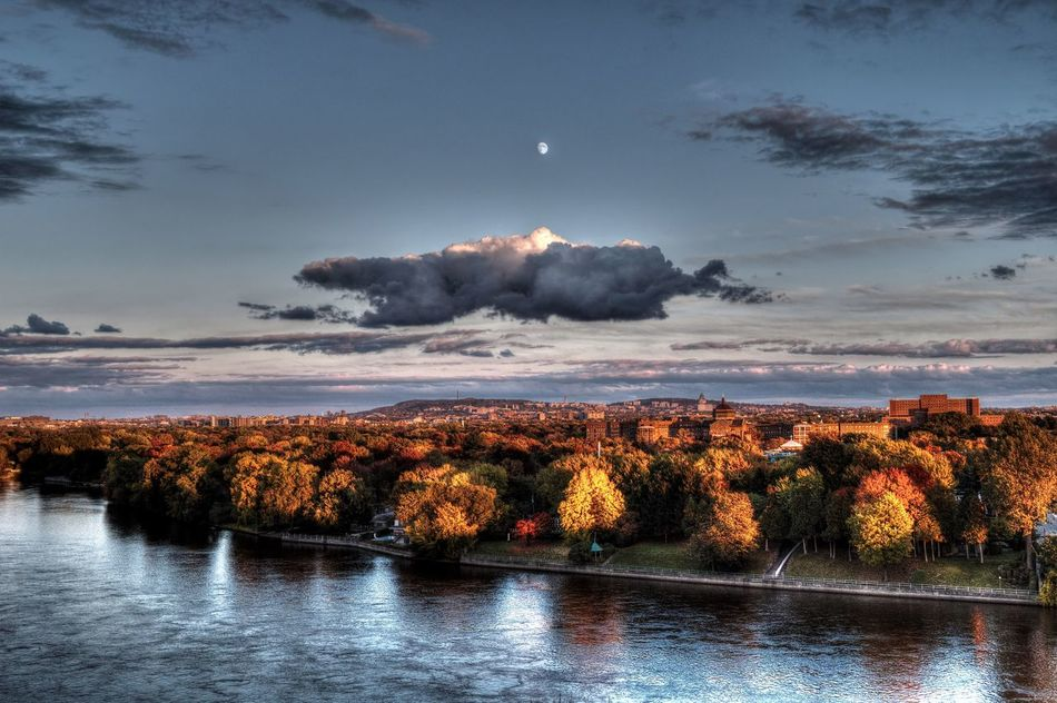 Autumn Beauty In Nature Cloud - Sky Colorful Colors Dusk Colours Dusk In The City Dusk Sky Montreal, Canada Montréal Moon Moon Light Moonlight Nature Outdoors Reflections River River View Riverbank Riverscape Riverside Silver  Sky Tree Water