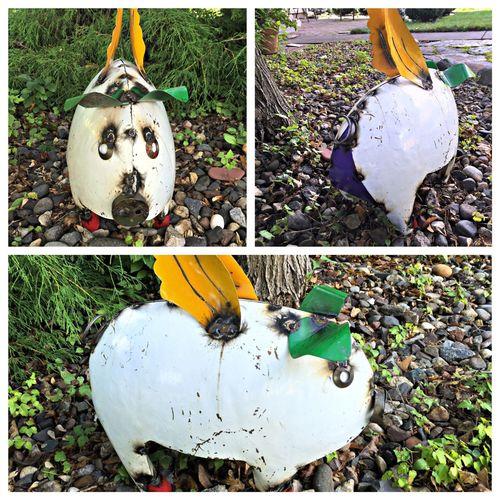 Pig, Flying. Art, sculpture, metal Sculpture Metal Amusement  Wings Colors White Animals
