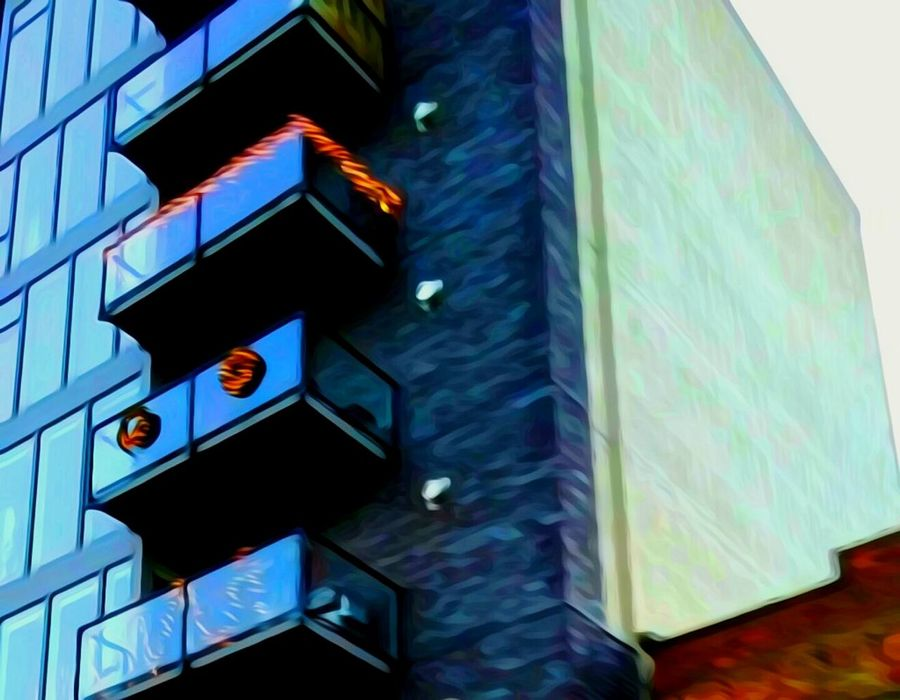 Building Exterior Architecture Modern Built Structure City Low Angle View Office Building Exterior Outdoors Illuminated The Way Forward Idyllic Focus On Foreground For The Love Of Art Artistic Perception Oregon Girl My Year My View Oregon Explored Fragility Cellphone Photography Original Photography Abstract Textured  Multi Colored Architectureporn Residential Building