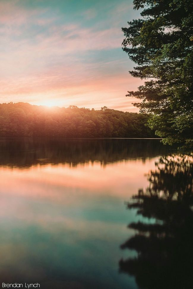 Sunset on the Lake Long Exposure New England  Landscape Forest Woods Adventure