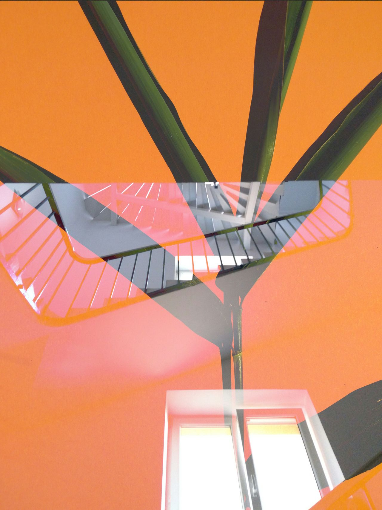 Spiral Stairs Steps And Staircases Spiral Steps Railing Architecture Built Structure Spiral Staircase Design Orange Color Orange Negative Space Leaves Natural Vs Artificial Graphic Design Double Exposure Collage Cut And Paste