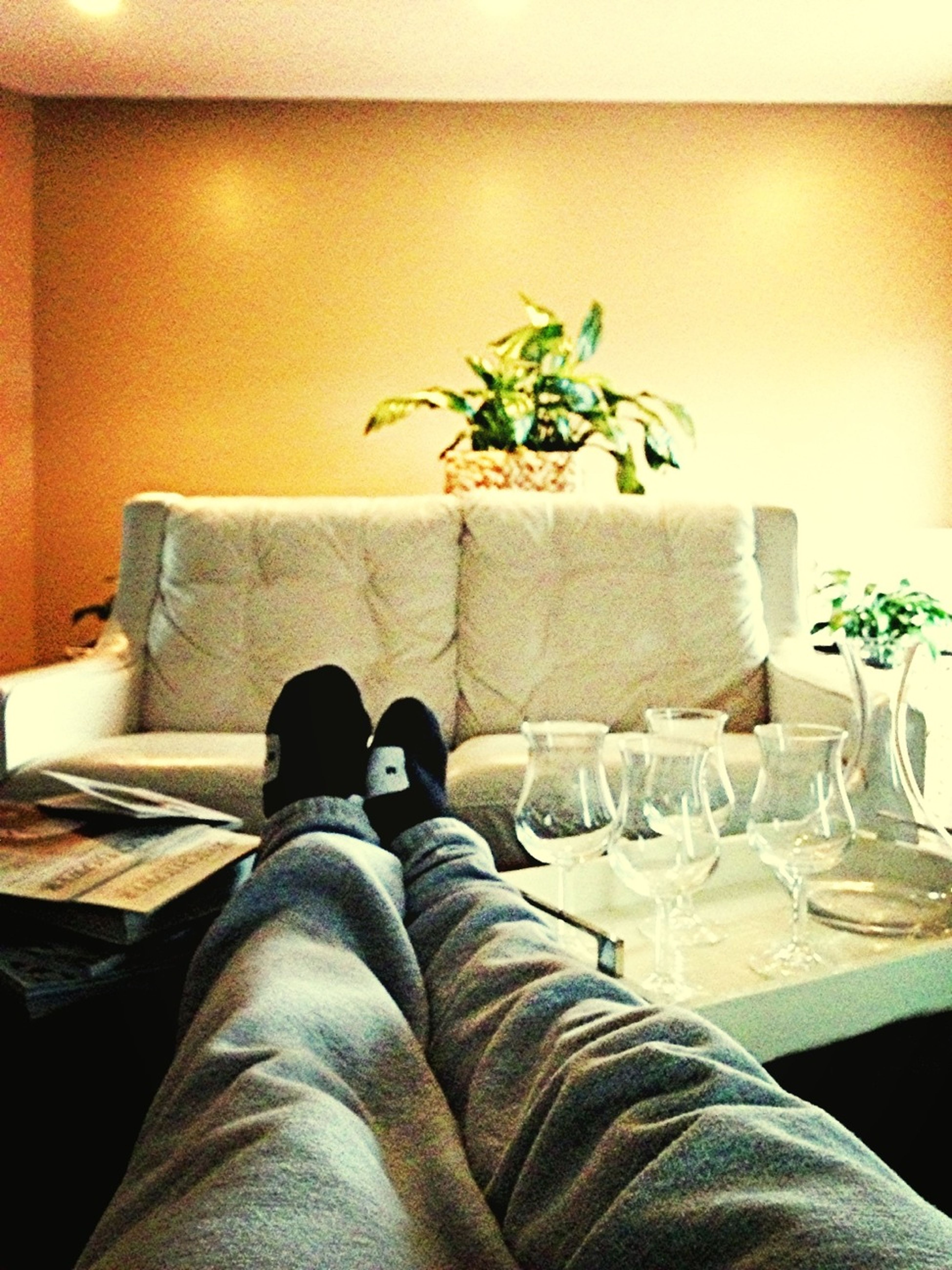 Feet Up Chillen Looking At A Wall