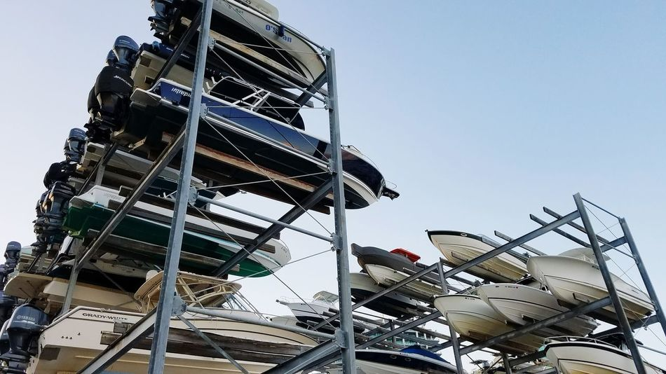 Outdoors Low Angle View Boats Stacked Boats Dry Dock Miami Marina