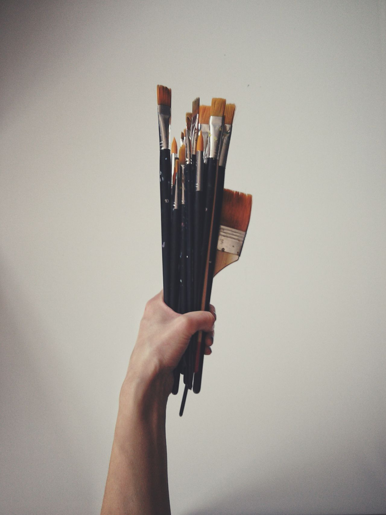 Paintbrushes Studio Shot White Background White Canvas Painting Tools Hobby Variety Large Group Of Objects Human Hand Holding Human Body Part One Person Indoors  Woman Hand Fine Arts Working Tools My Work Paintbrush