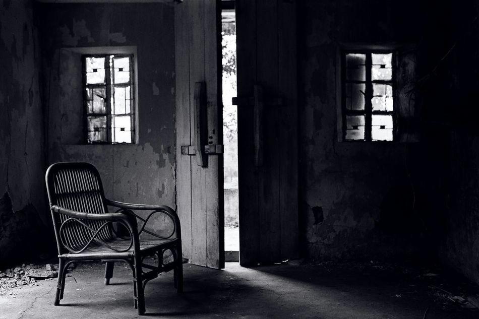 Ruin Vintage Black & White Empty Seat Hong Kong , broken house Film Photography