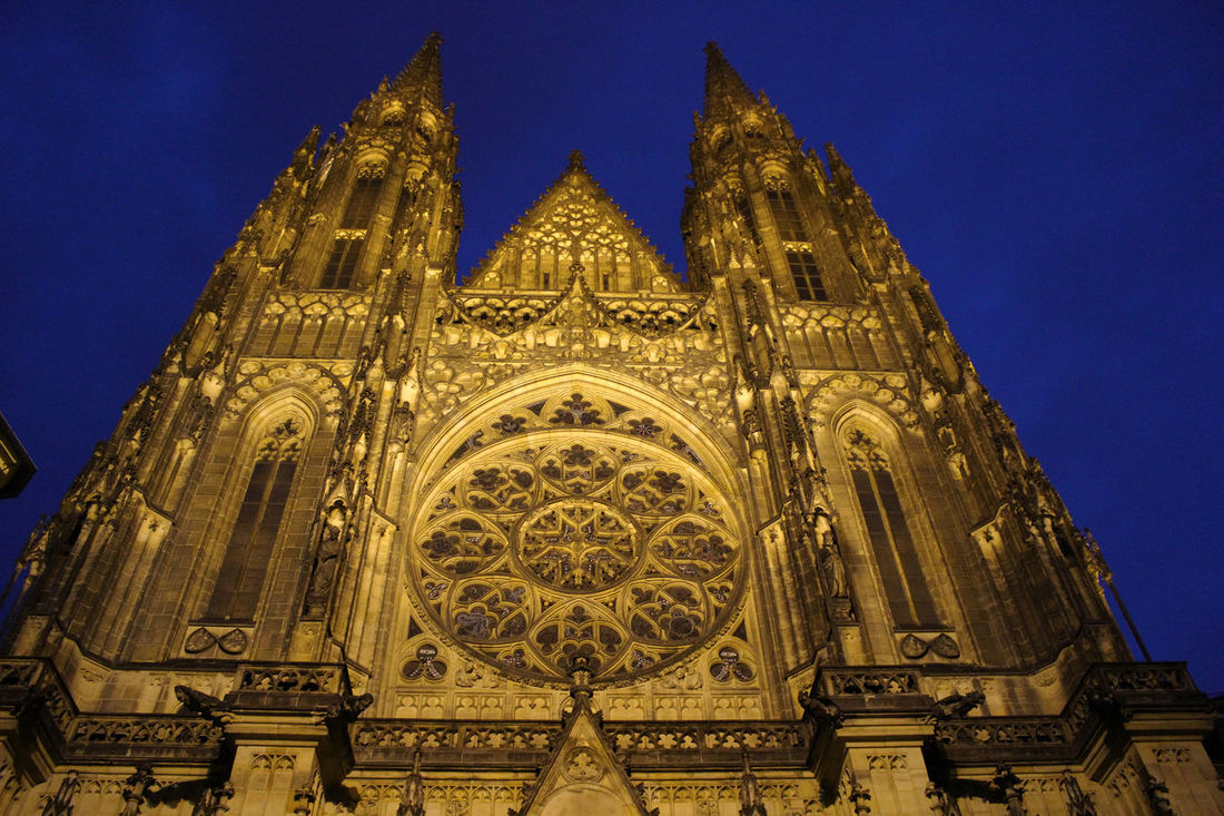 Architecture Architecture Blue Building Exterior Cathedral Evening Low Angle View Night No People Outdoors Place Of Worship Prague Prague Czech Republic Sky St Vitus Cathedra St Vitus Cathedral Svateho Vita