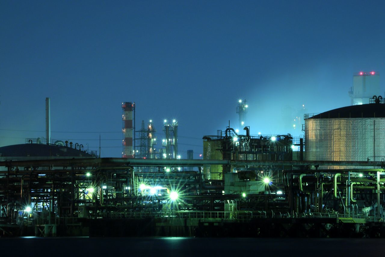 Night Industry Factory Illuminated Oil Industry Factory Night View Bayside Japan Kawasaki Nightview Nightpicture Nightscape Landscape Nightphotography Bay Industry