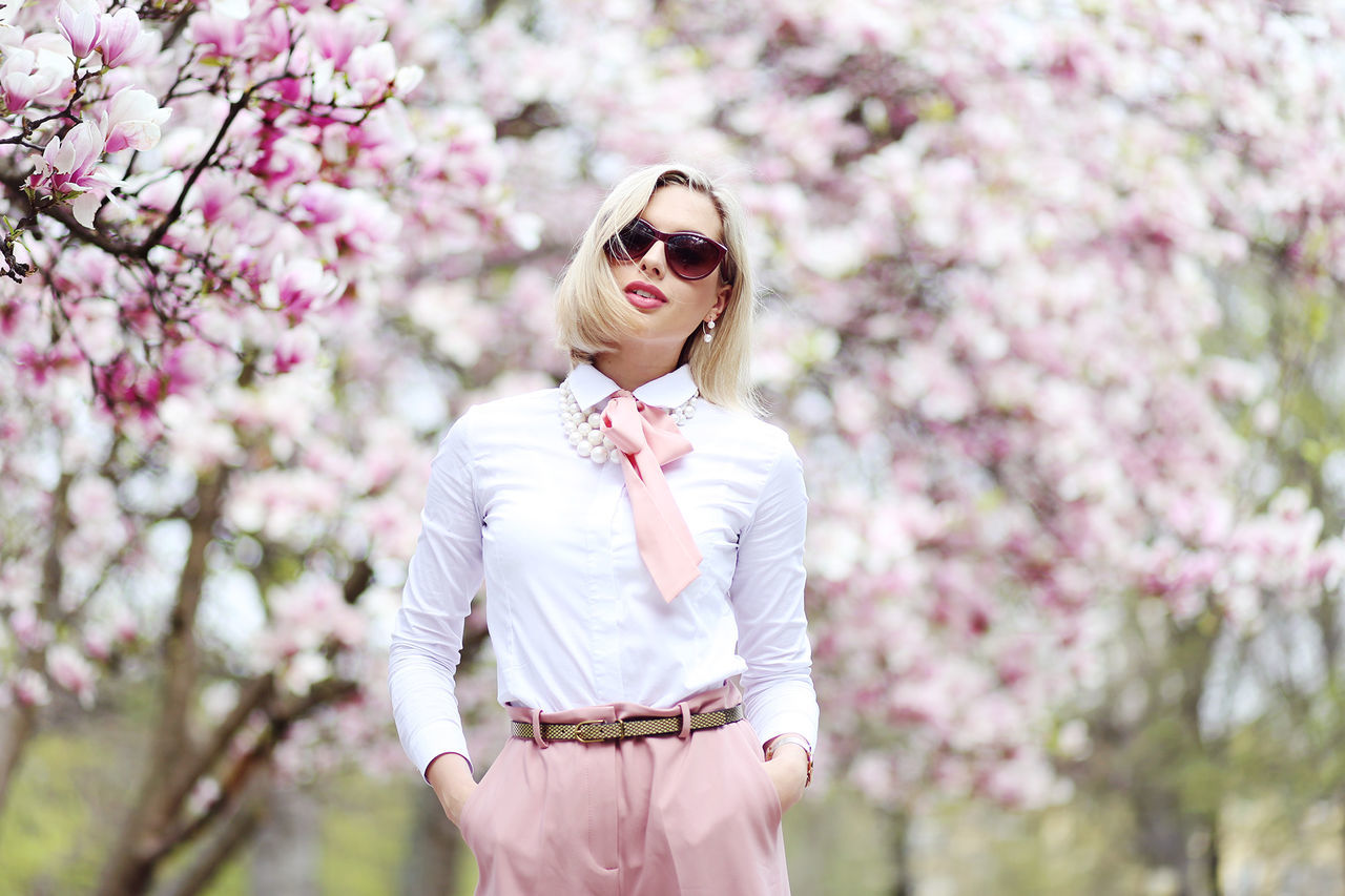 Beautiful Woman Beauty Blossom Cherry Blossom Cherry Tree Fashion Flower Freshness Nature One Person Outdoors Pink Color Springtime Sunglasses The Portraitist - 2017 EyeEm Awards Tree White Color Young Women