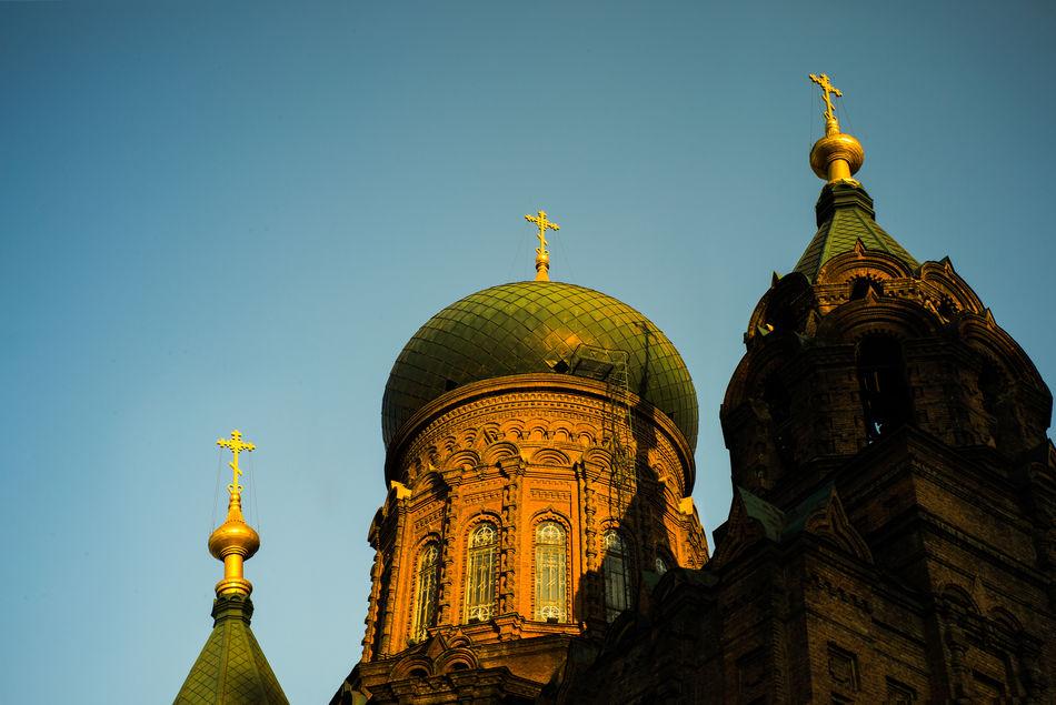 Architecture Building Exterior Clear Sky Dome Harbin International Landmark Low Angle View Religion Saint Sofia Church Travel Destinations