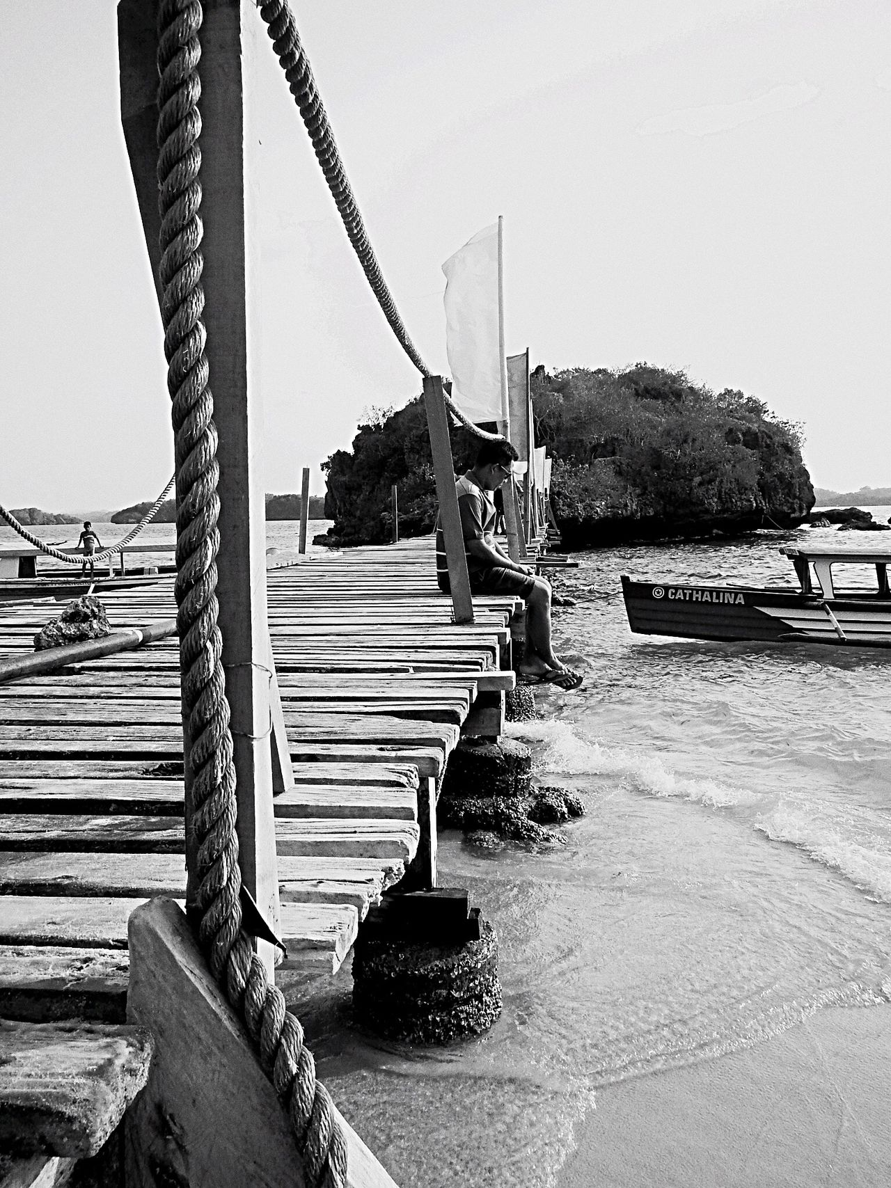 Wooden bridge Lonesome Ocean View Islandlife Man Second Acts Black And White Friday
