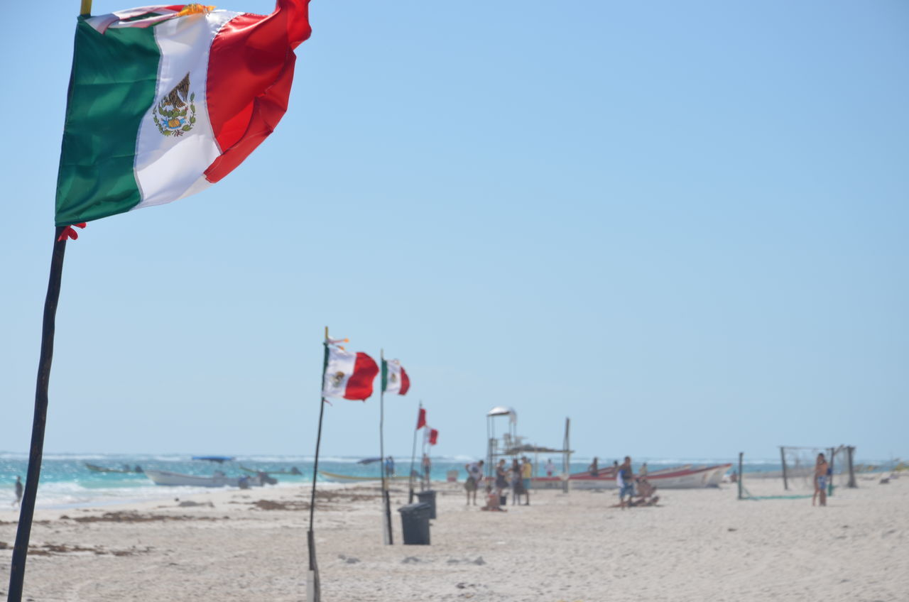 Beautiful stock photos of mexican flag, Beach, Day, Incidental People, Leisure Activity
