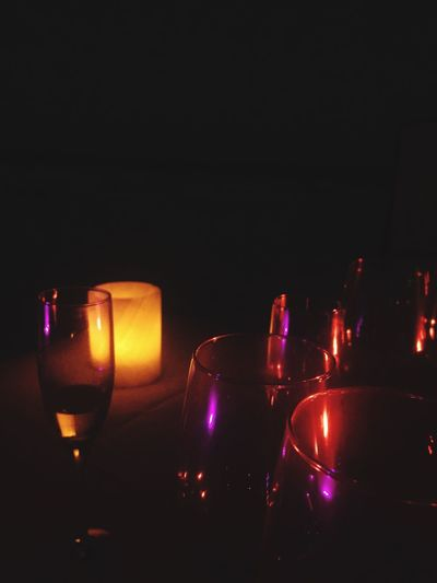 Romantic Candlelight Dinner Glass Beach Nightphotography Night Night Lights Budoir Tablesetting Champagne Purple Red